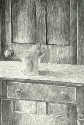 a door and a table drawing